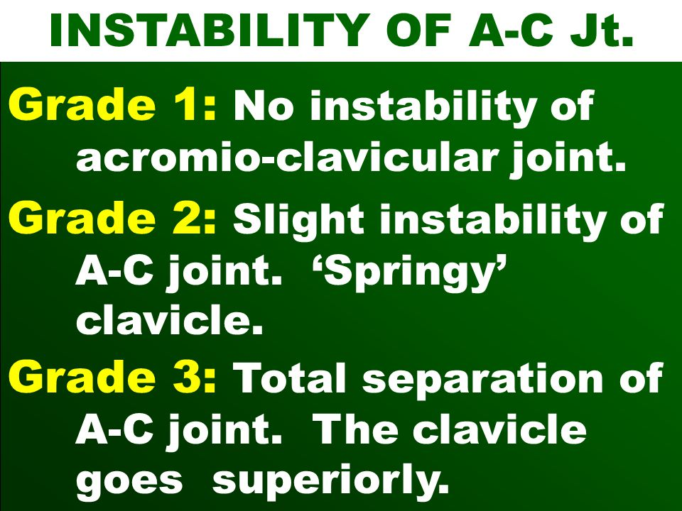INSTABILITY OF A-C Jt. Grade 1: No instability of acromio-clavicular joint. Grade 2: Slight instability of A-C joint. 'Springy' clavicle.