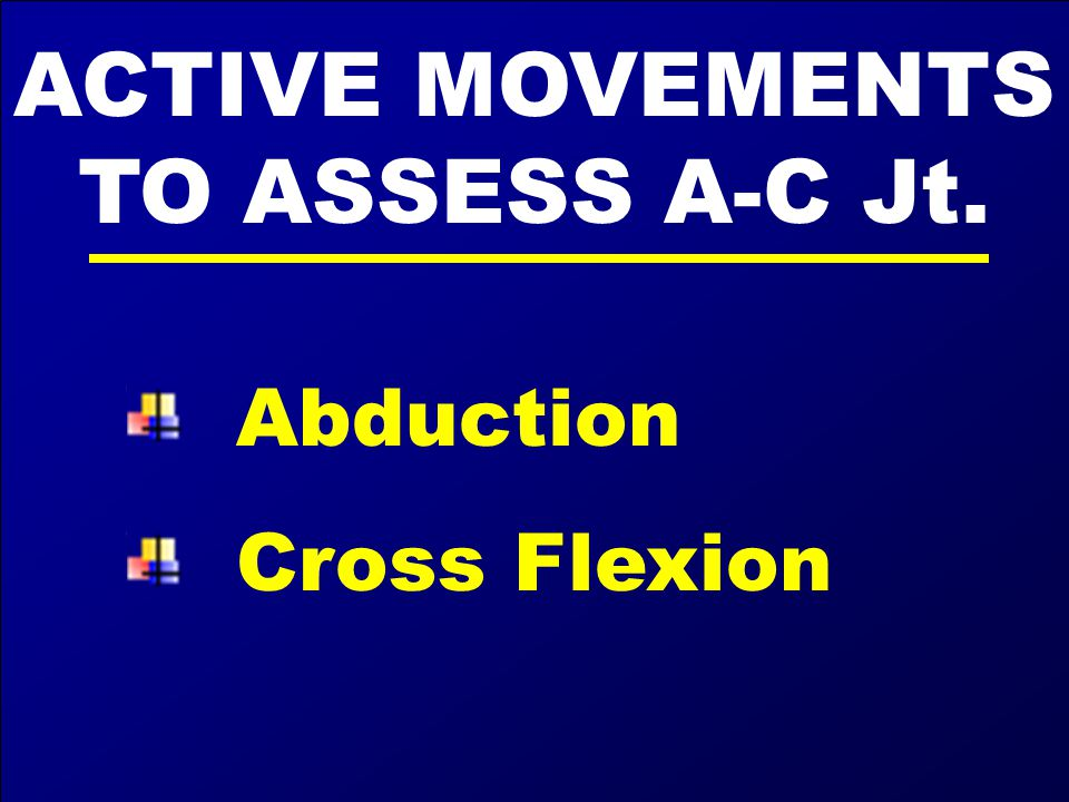 ACTIVE MOVEMENTS TO ASSESS A-C Jt.