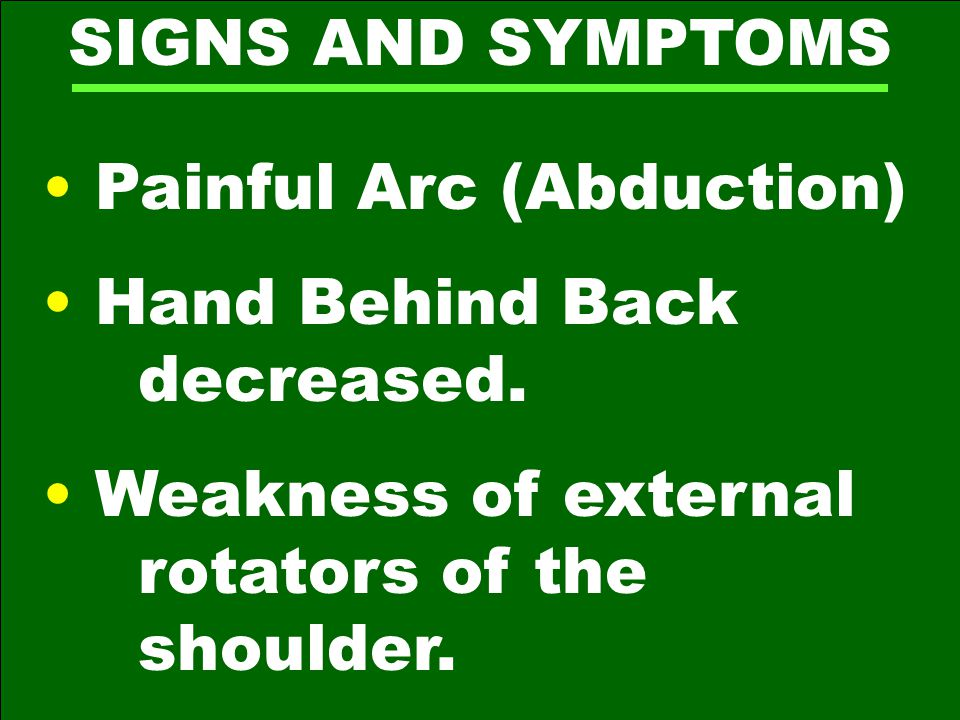 SIGNS AND SYMPTOMS Painful Arc (Abduction) Hand Behind Back decreased.