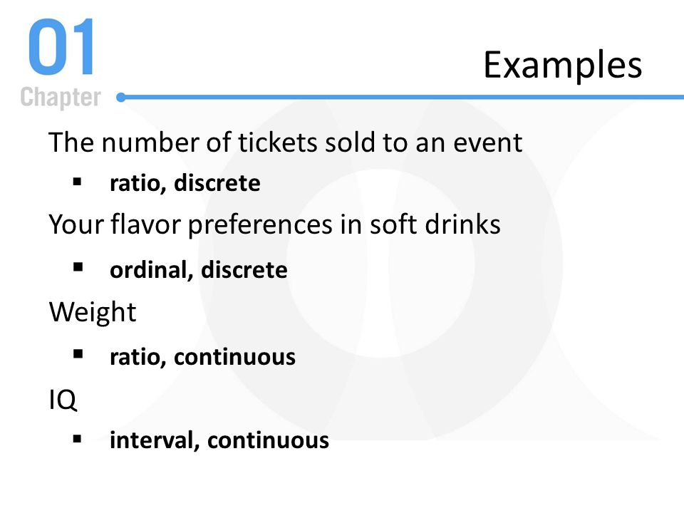 Examples The number of tickets sold to an event