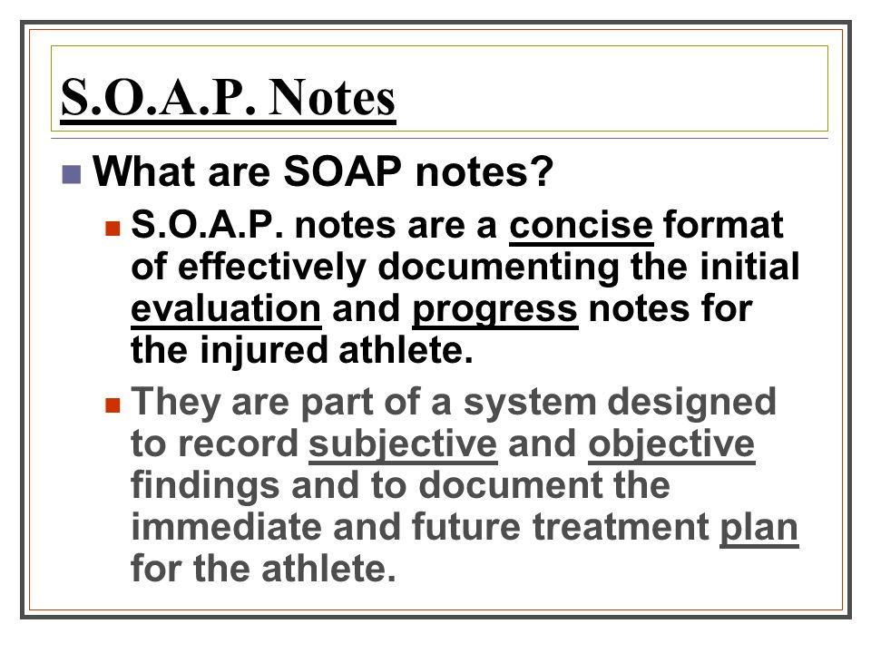 soap notes for