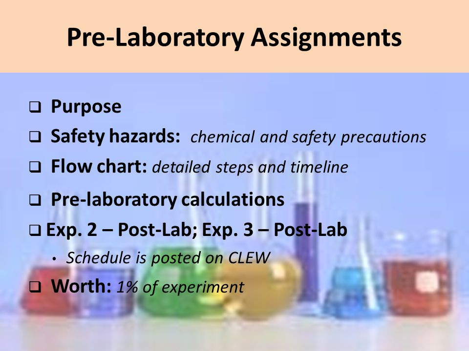 analytical chemistry laboratories ppt  pre laboratory assignments