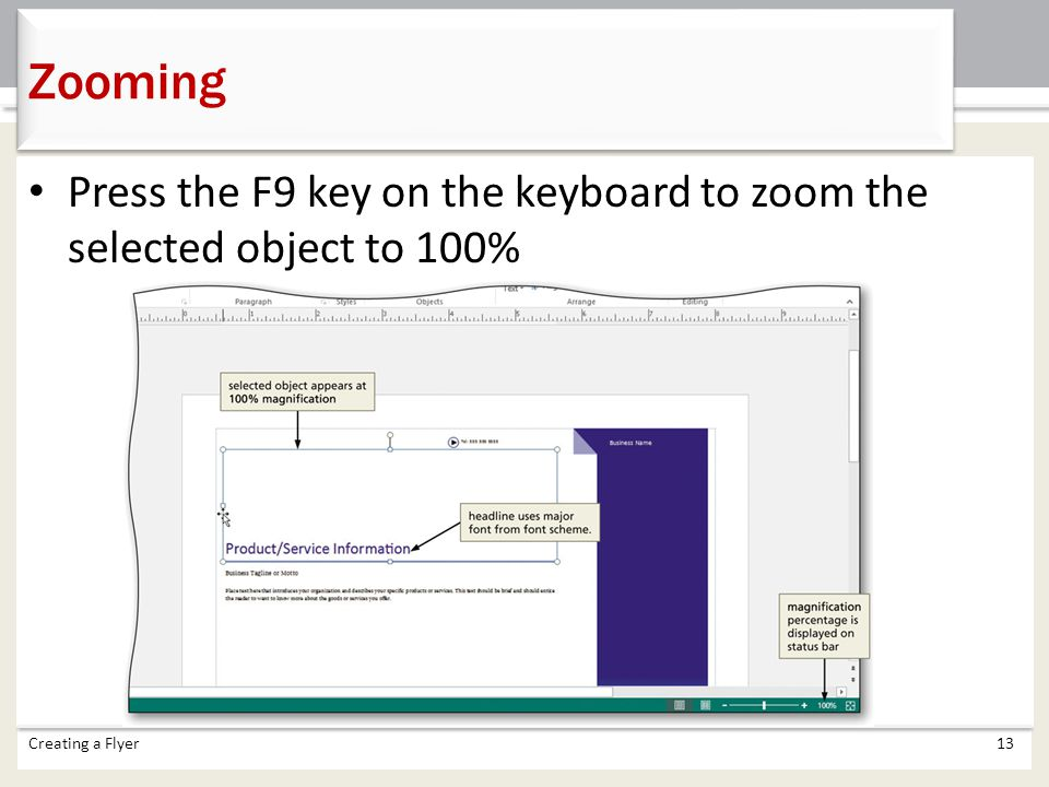 Zooming Press the F9 key on the keyboard to zoom the selected object to 100% Creating a Flyer