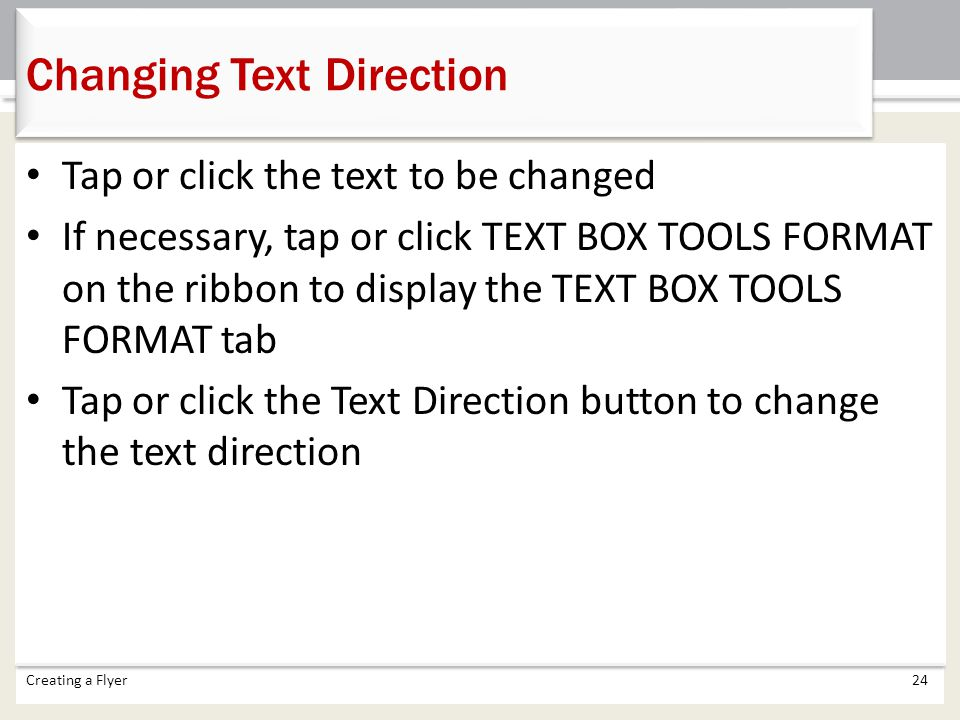 Changing Text Direction