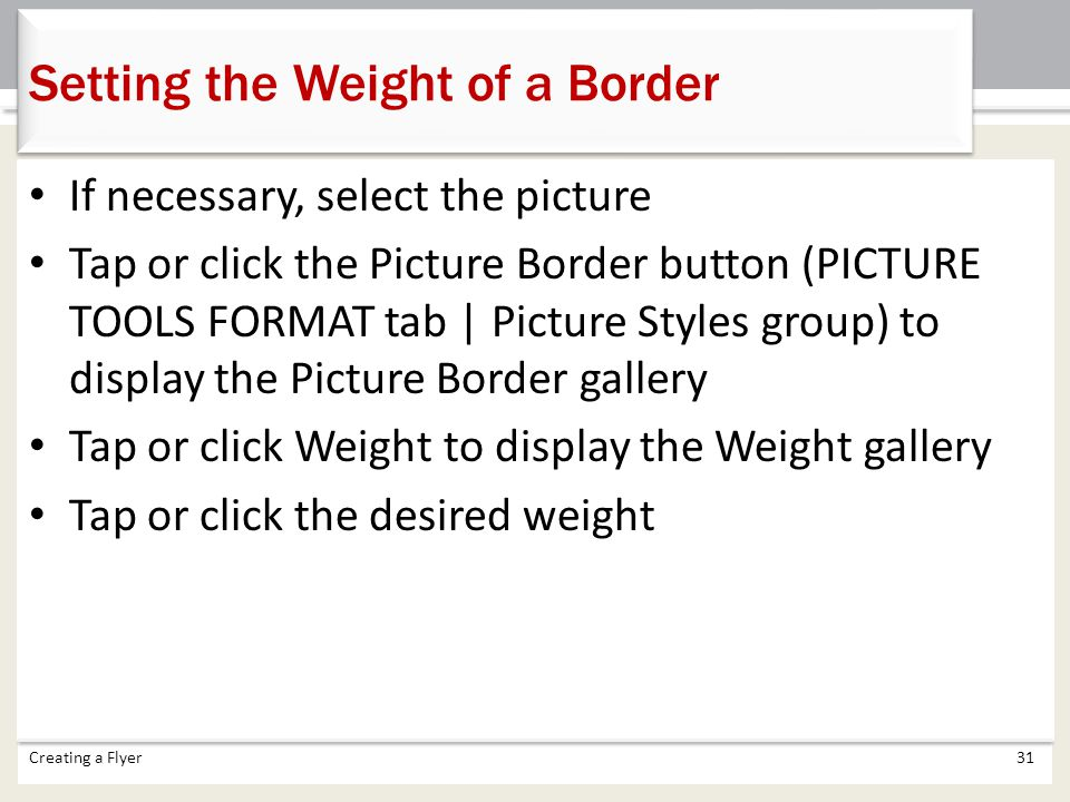 Setting the Weight of a Border