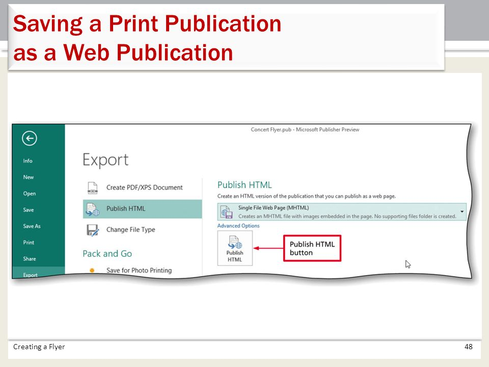 Saving a Print Publication as a Web Publication