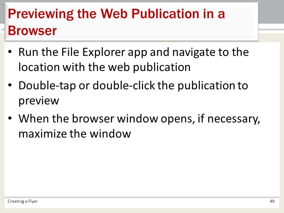 Previewing the Web Publication in a Browser