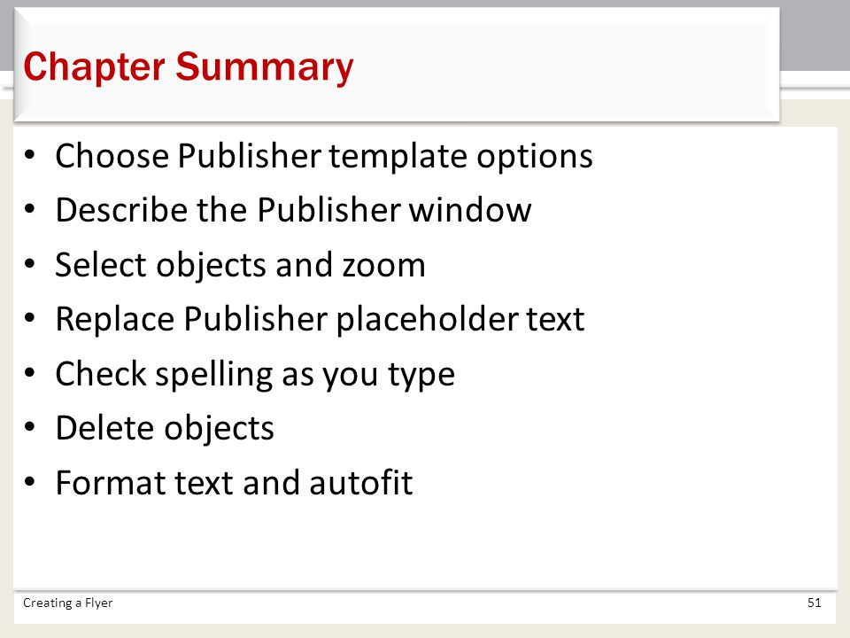 Chapter Summary Choose Publisher template options