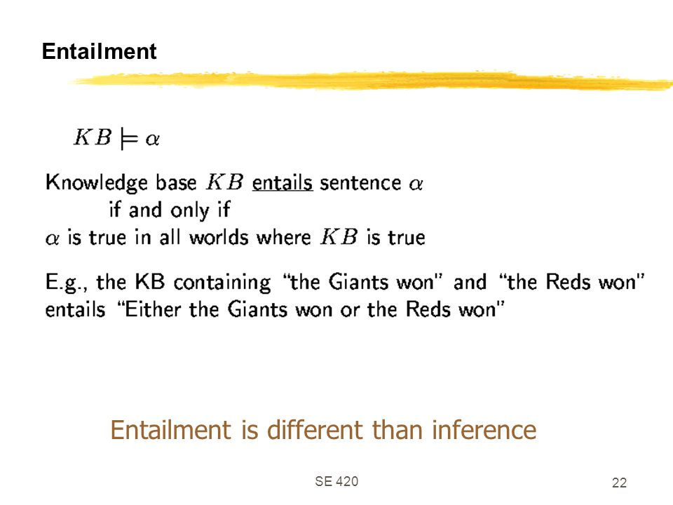 Entailment is different than inference