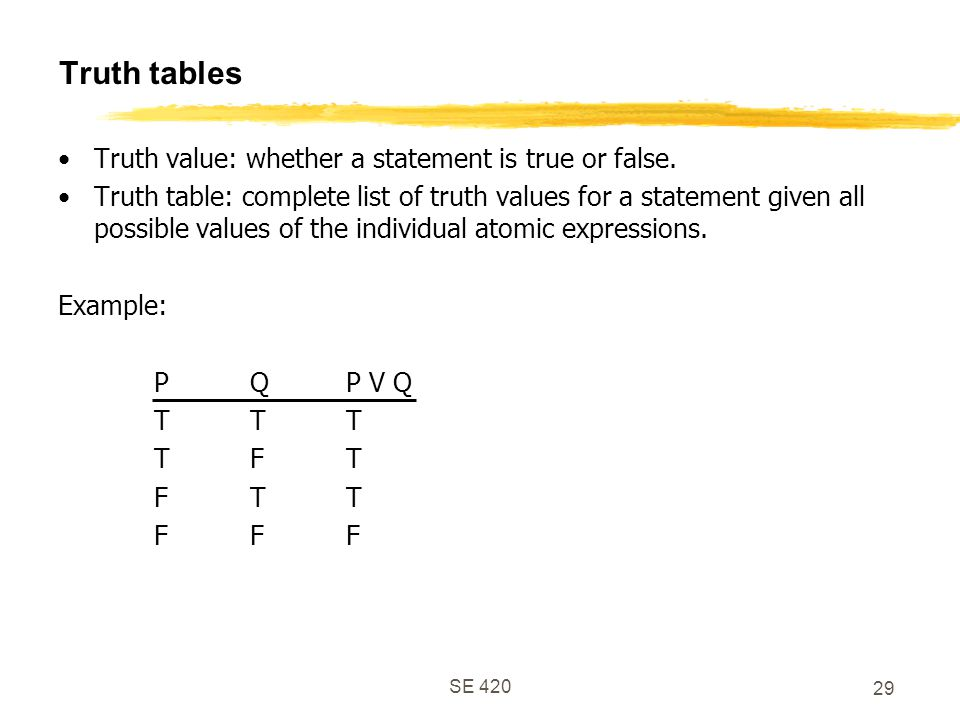 Truth tables Truth value: whether a statement is true or false.