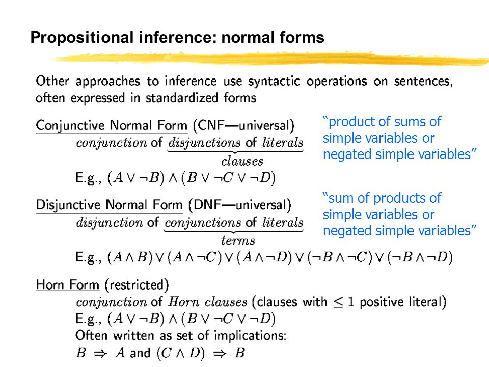 Propositional inference: normal forms