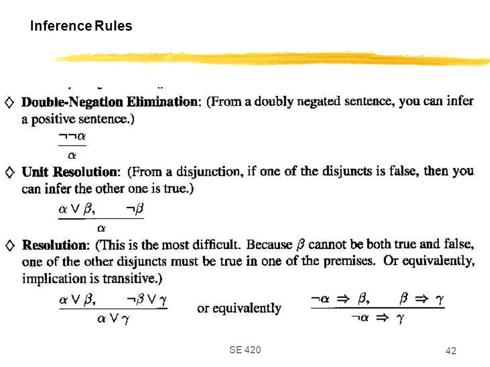 Inference Rules SE 420