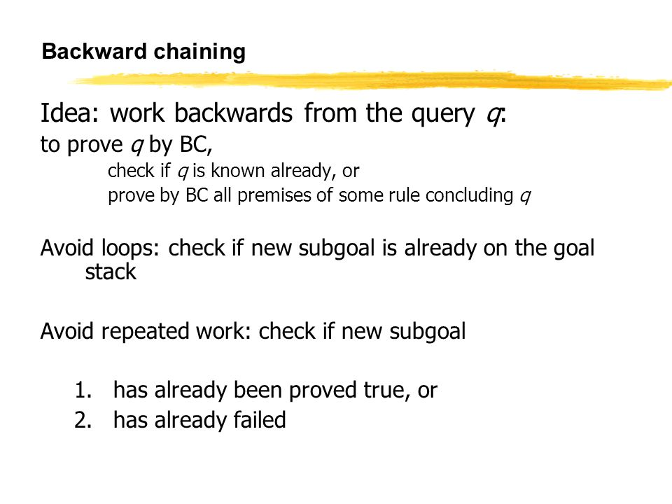 to prove q by BC, Backward chaining