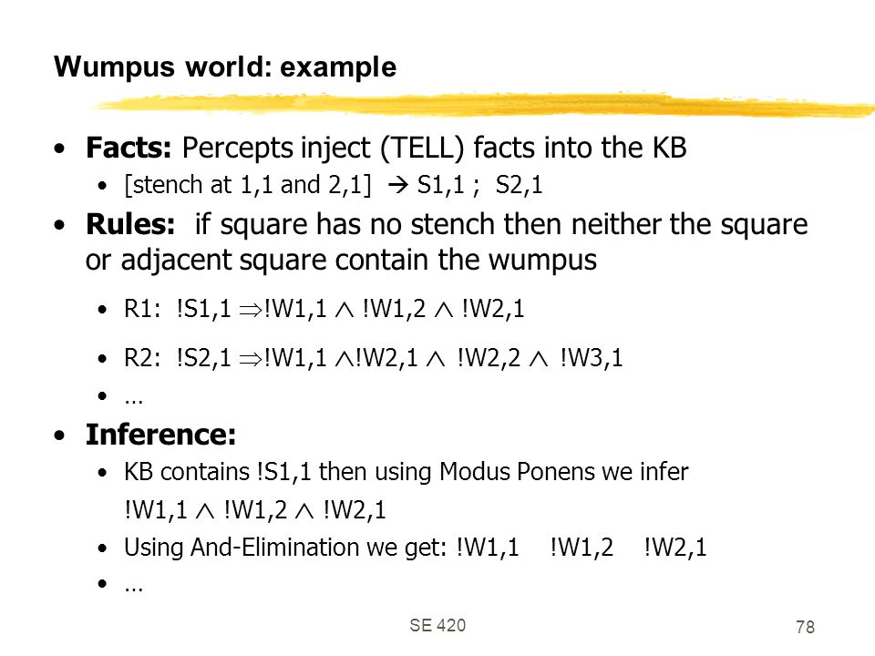Facts: Percepts inject (TELL) facts into the KB