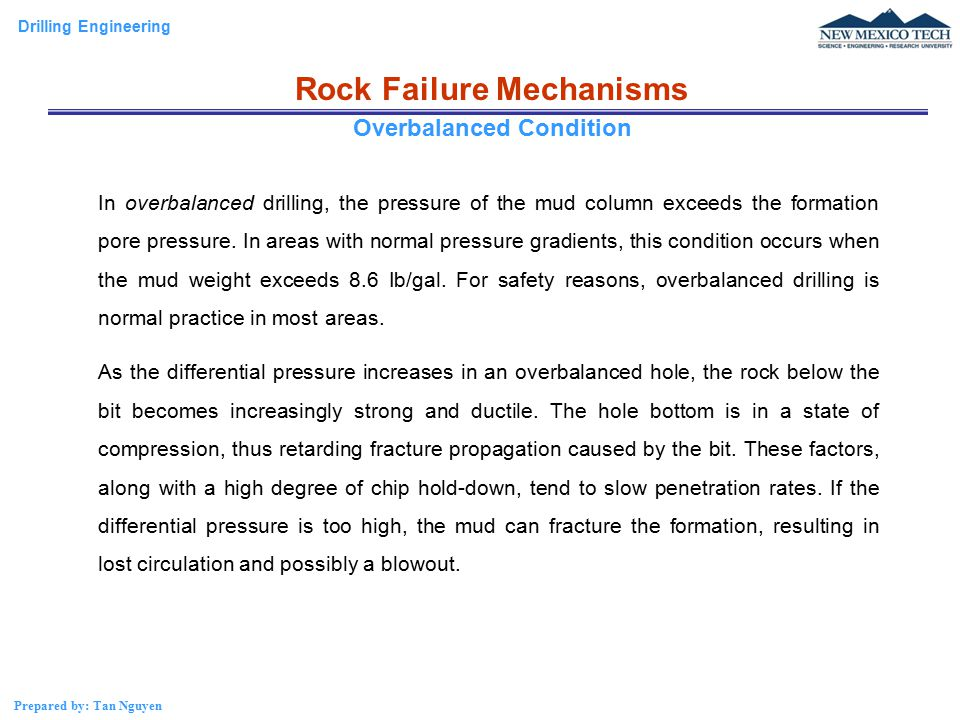 Rock Failure Mechanisms Overbalanced Condition