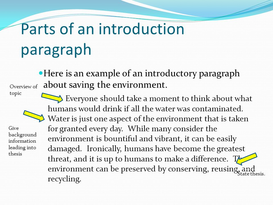parts of essay introduction The introductory paragraph of any the subject or your process you will address in the body of your essay you should use for an engaging introduction.