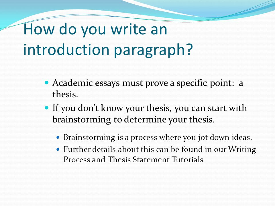 How to write an introduction with thesis