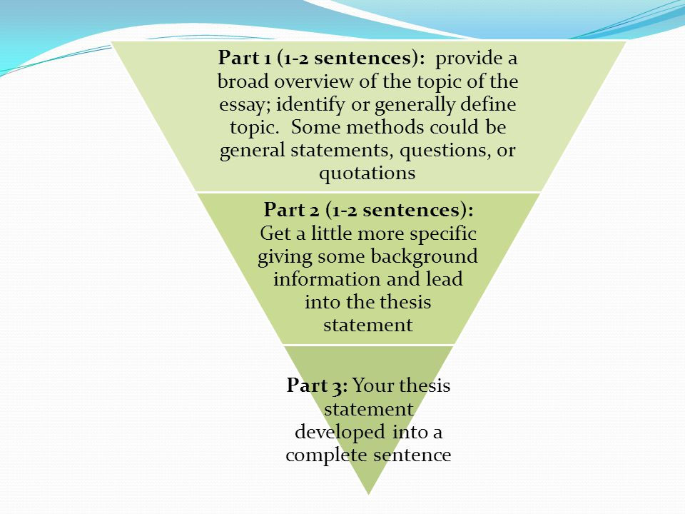 3 part thesis statement A thesis statement usually appears at the middle or end of the introductory paragraph of a paper, and it offers a concise summary of the main point or claim of the.