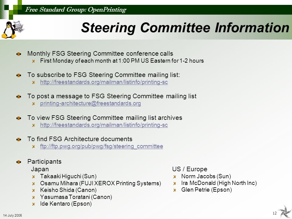 Steering Committee Information