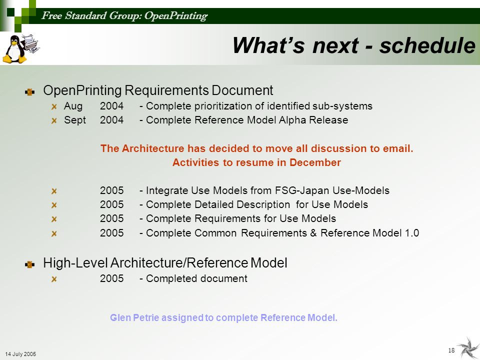 What's next - schedule OpenPrinting Requirements Document