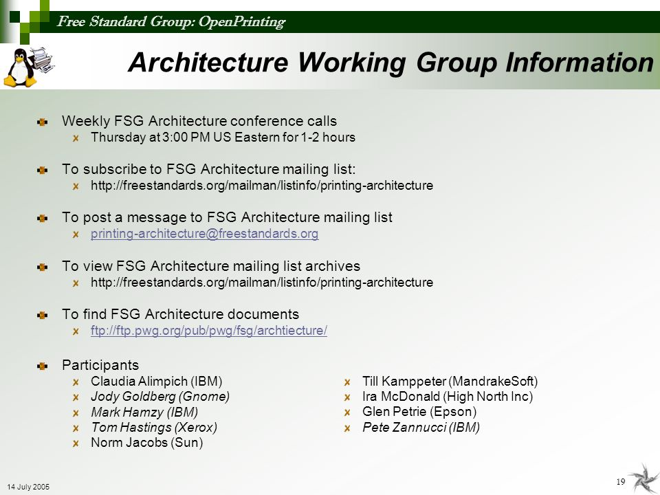 Architecture Working Group Information