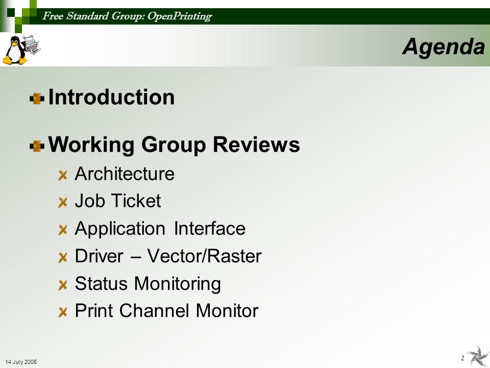 Agenda Introduction Working Group Reviews Architecture Job Ticket