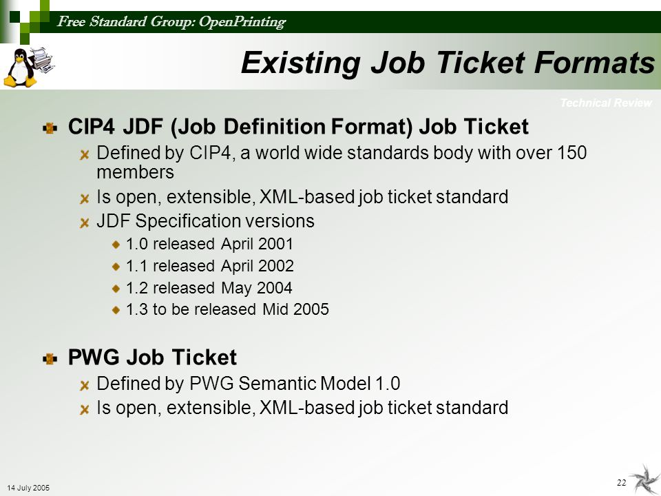 Existing Job Ticket Formats