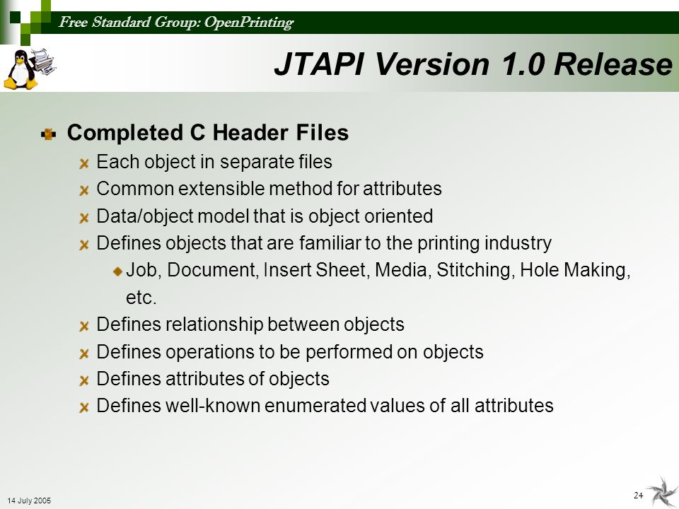 JTAPI Version 1.0 Release Completed C Header Files