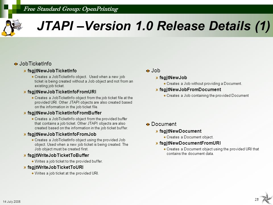 JTAPI –Version 1.0 Release Details (1)