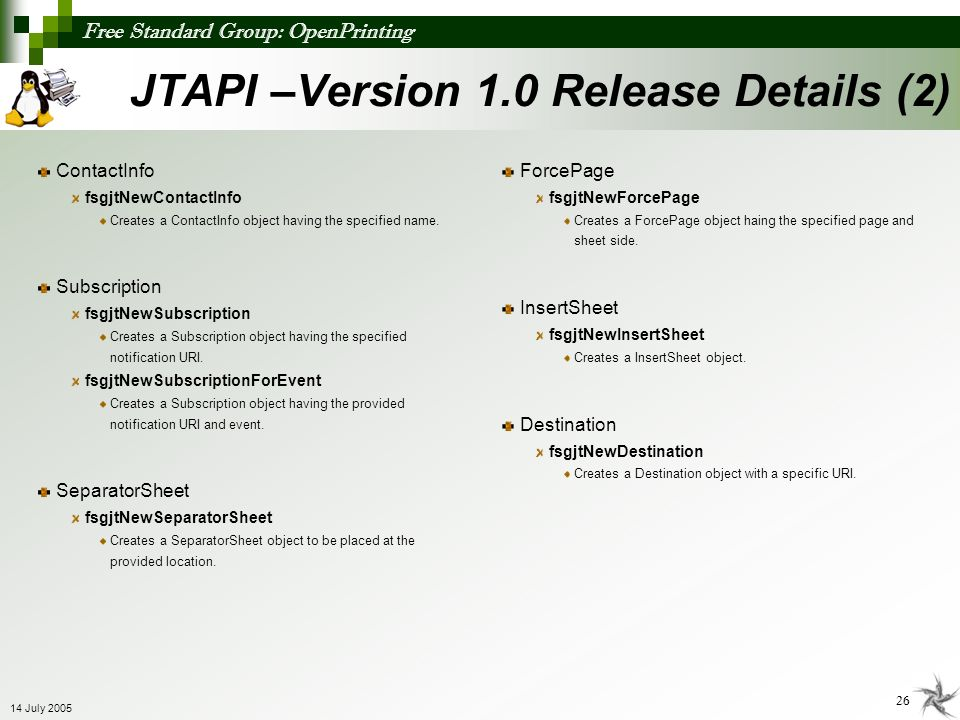 JTAPI –Version 1.0 Release Details (2)
