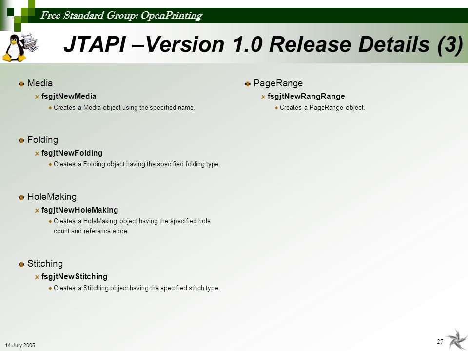 JTAPI –Version 1.0 Release Details (3)