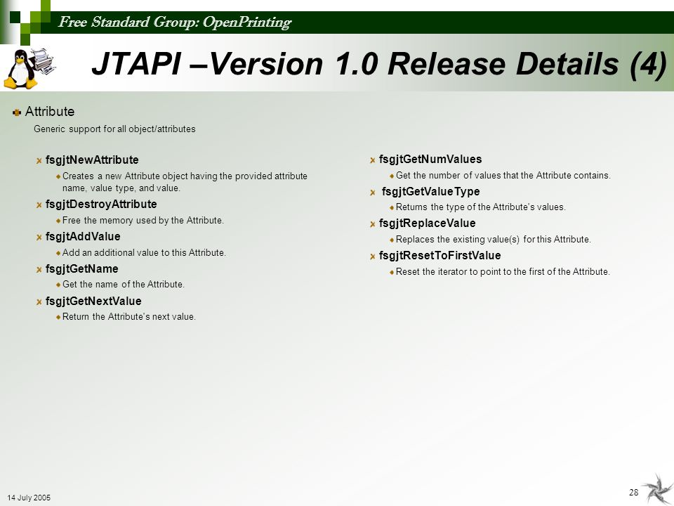 JTAPI –Version 1.0 Release Details (4)