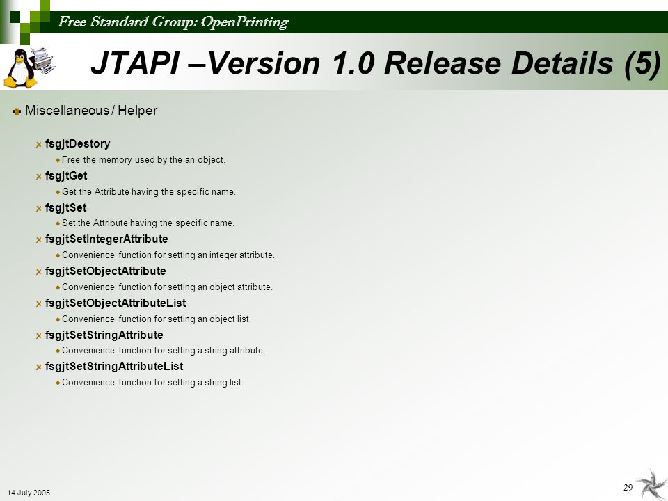 JTAPI –Version 1.0 Release Details (5)