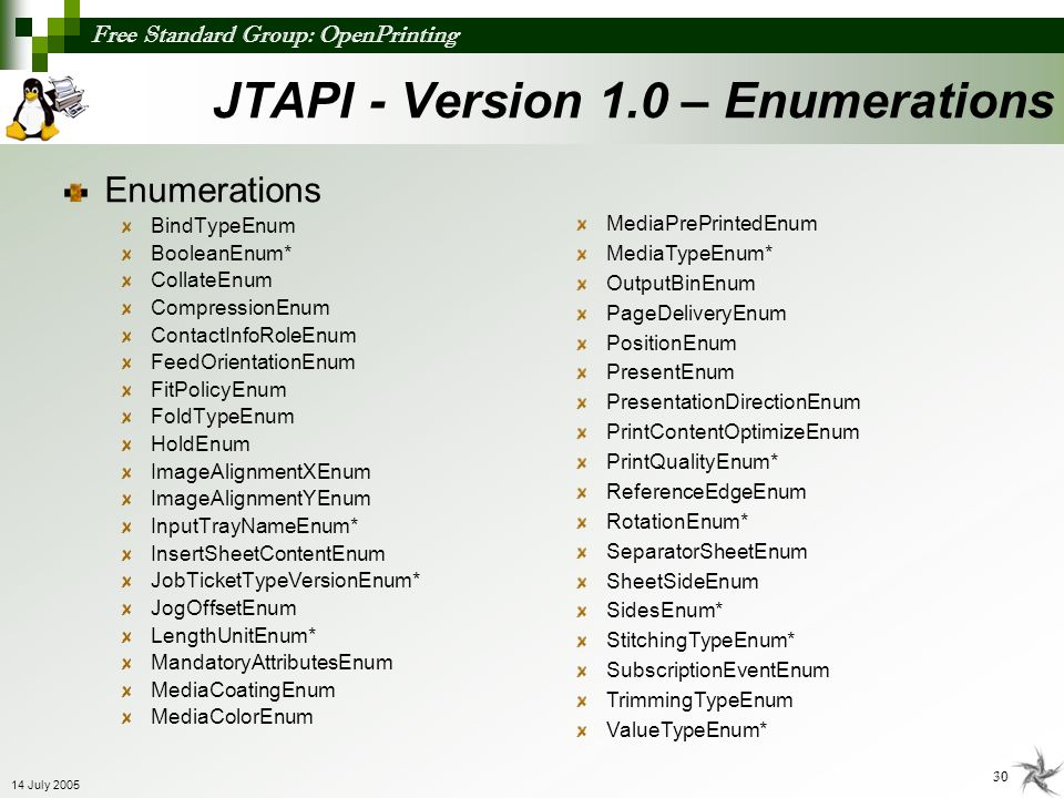 JTAPI - Version 1.0 – Enumerations