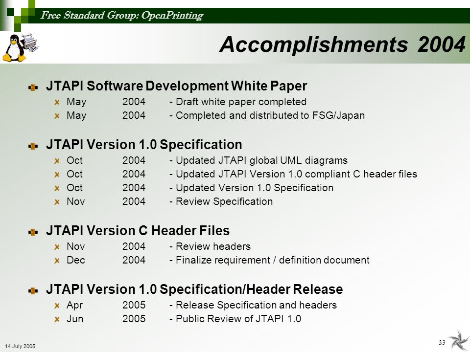 Accomplishments 2004 JTAPI Software Development White Paper
