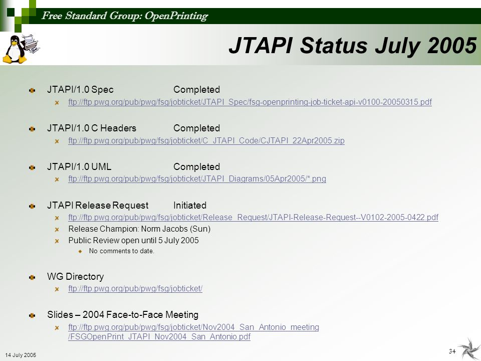 JTAPI Status July 2005 JTAPI/1.0 Spec Completed