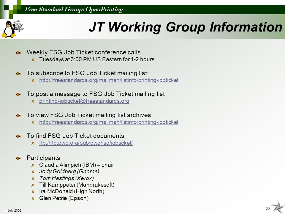 JT Working Group Information