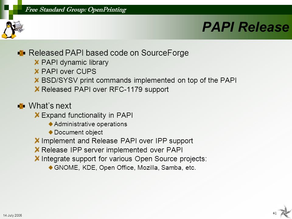 PAPI Release Released PAPI based code on SourceForge What's next
