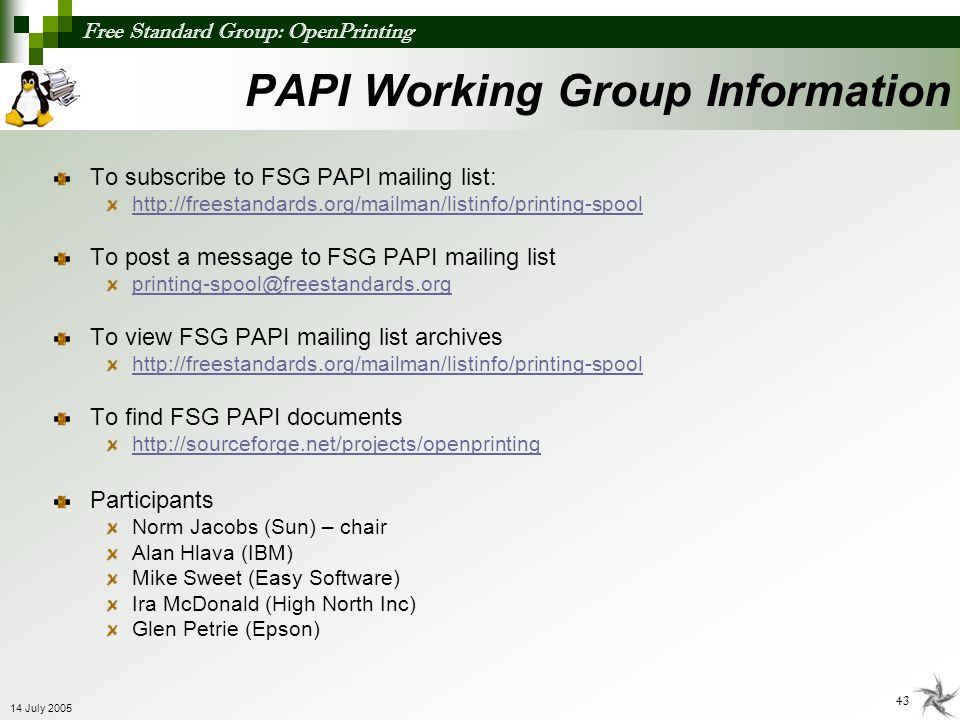 PAPI Working Group Information