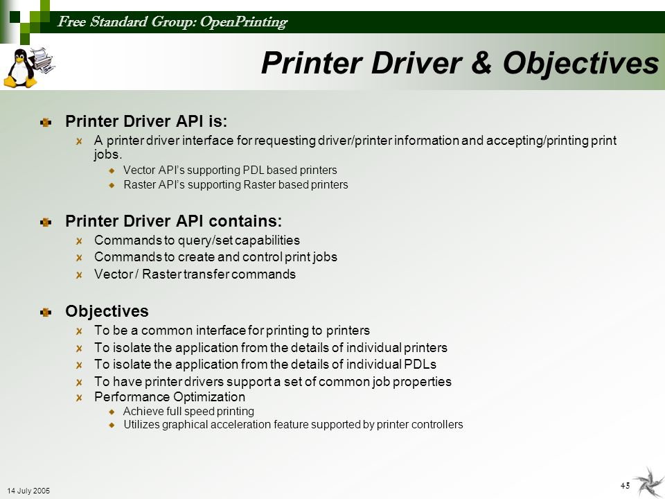 Printer Driver & Objectives