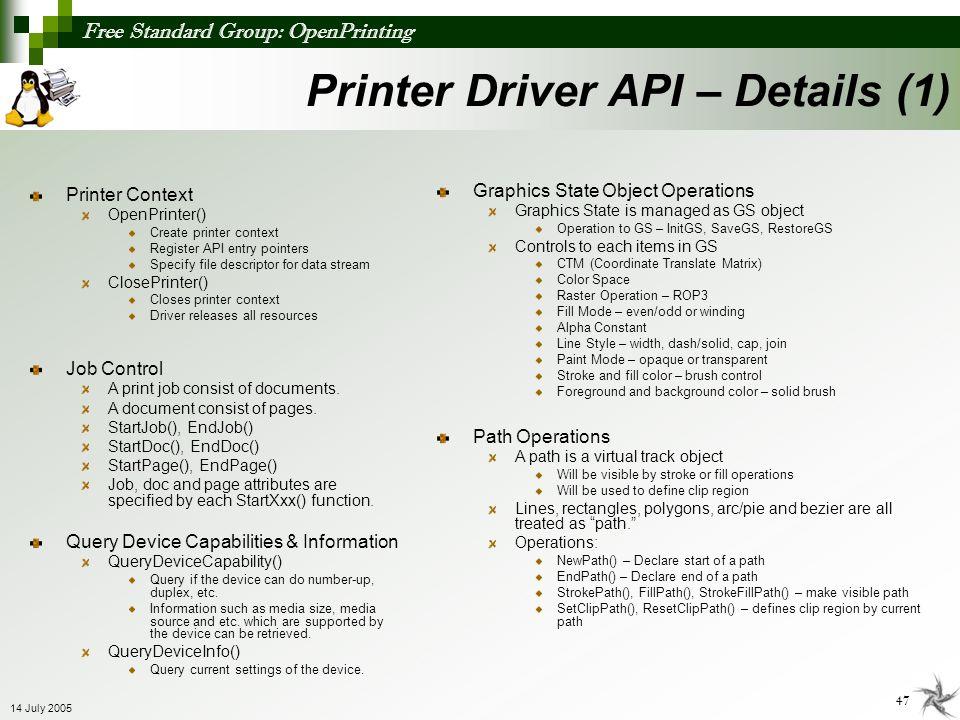 Printer Driver API – Details (1)