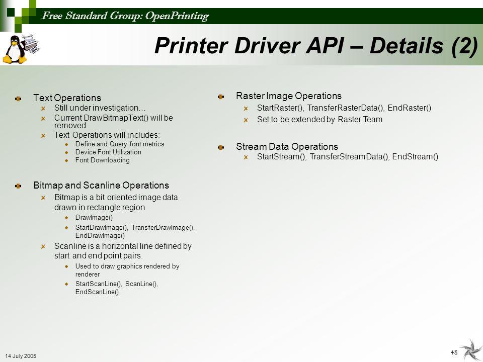 Printer Driver API – Details (2)