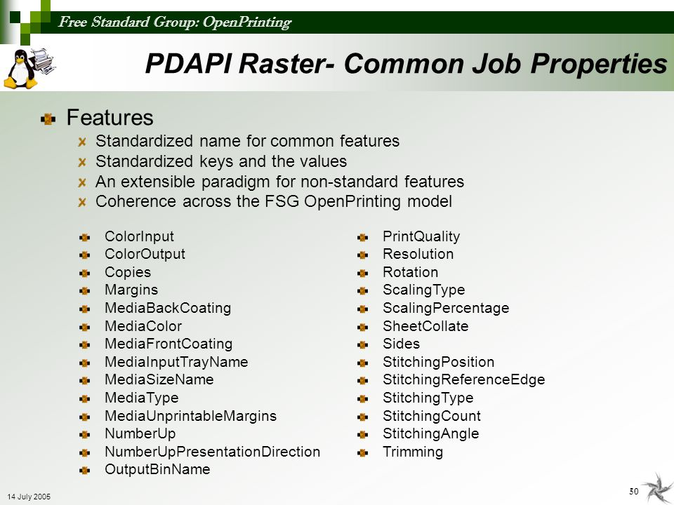 PDAPI Raster- Common Job Properties