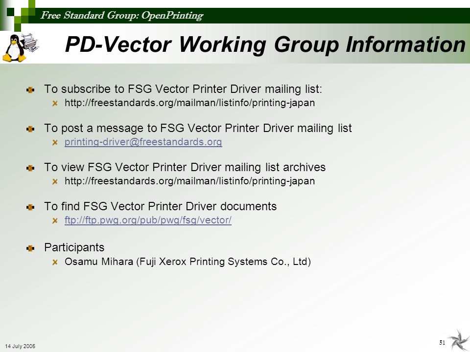 PD-Vector Working Group Information