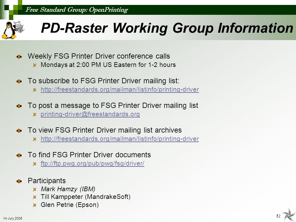 PD-Raster Working Group Information