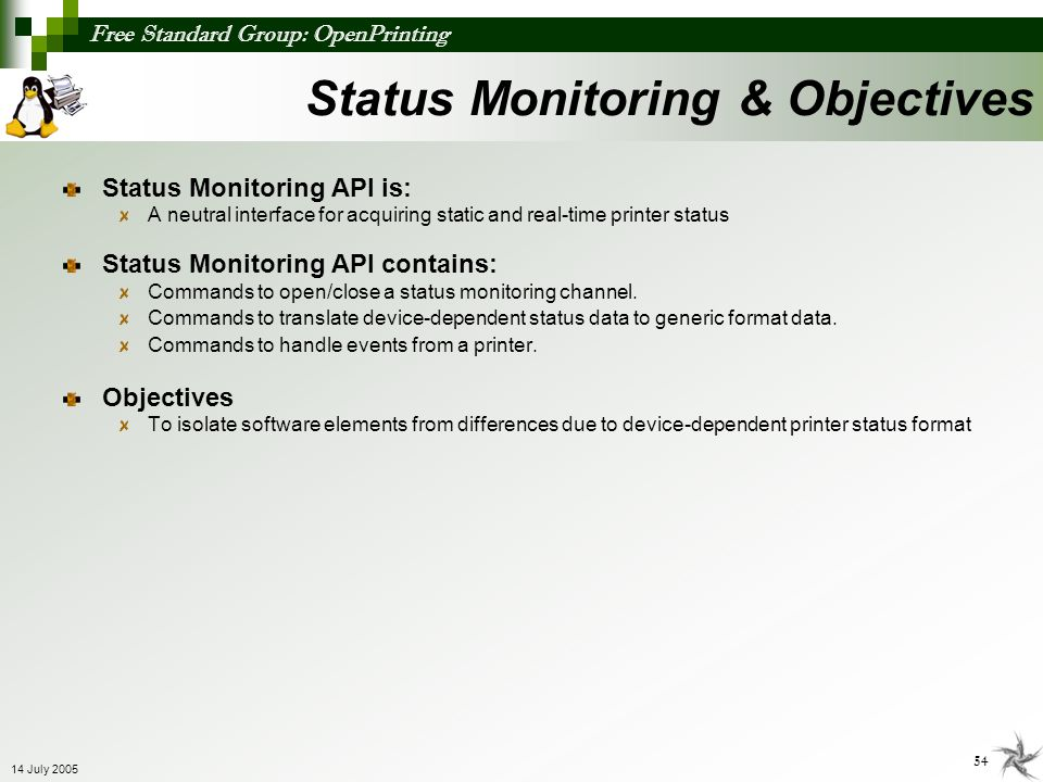 Status Monitoring & Objectives