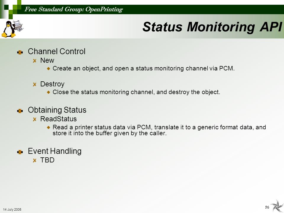 Status Monitoring API Channel Control Obtaining Status Event Handling