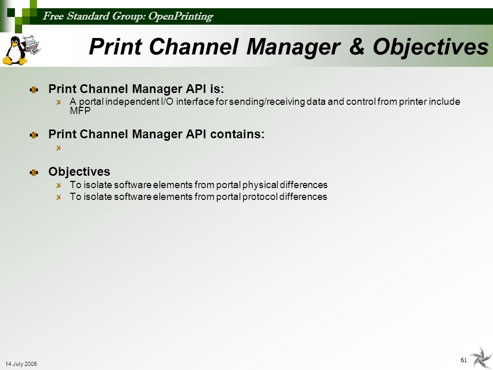Print Channel Manager & Objectives