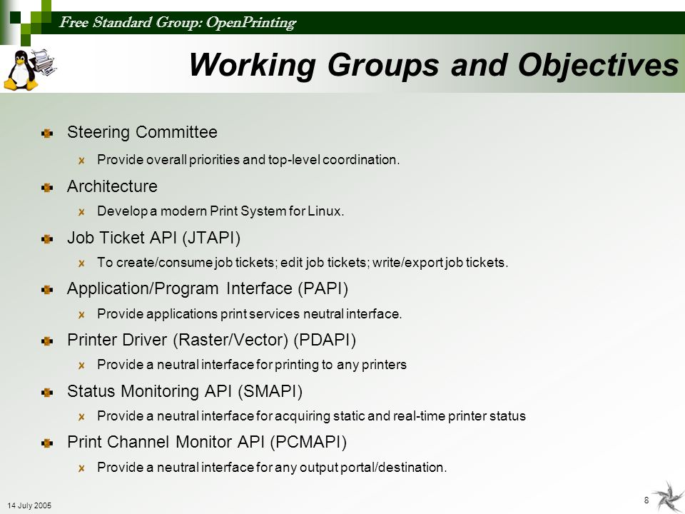 Working Groups and Objectives