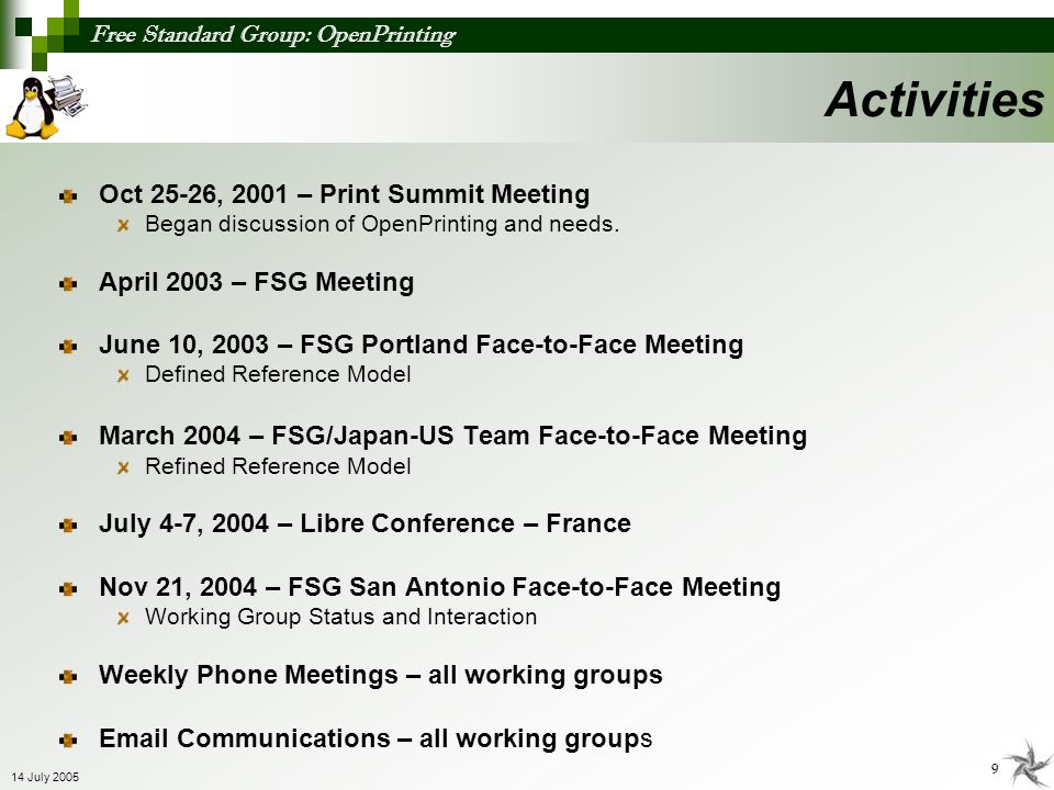 Activities Oct 25-26, 2001 – Print Summit Meeting